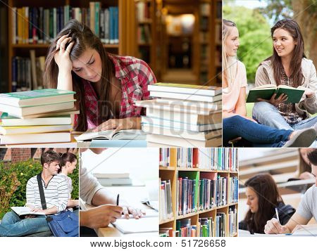 Collage of students studying at the university
