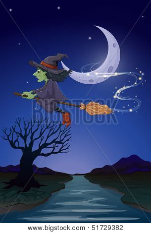 Illustration of a witch travelling with her broomstick in the middle of the night