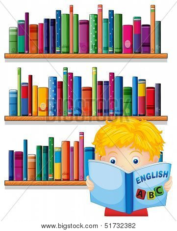 Illustration of a boy reading with a wooden shelves at the back on a white background