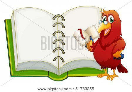 Illustration of a parrot and an empty notebook on a white background