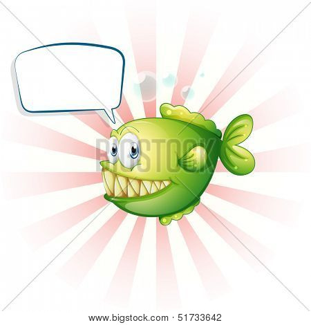Illustration of a piranha with an empty callout on a white background