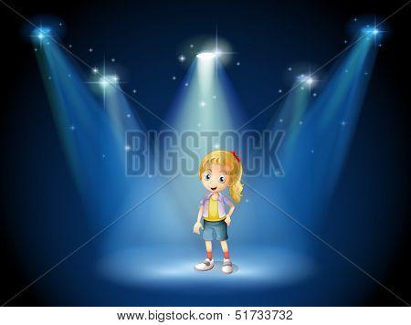 Illustration of a girl under the spotlights