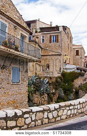 France, Cote d'Azur, in October 2013. Typical architecture of the French town of Antibes