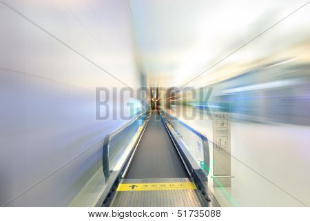 Moving shot for modern escalator at a international airport,hongqiao,shanghai