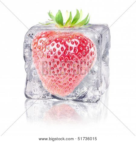Strawberry In An Ice Cube