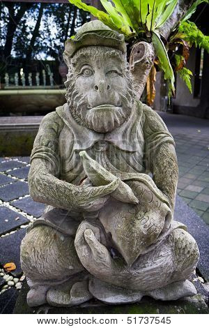 Cheeky Monkey Statue In Bali