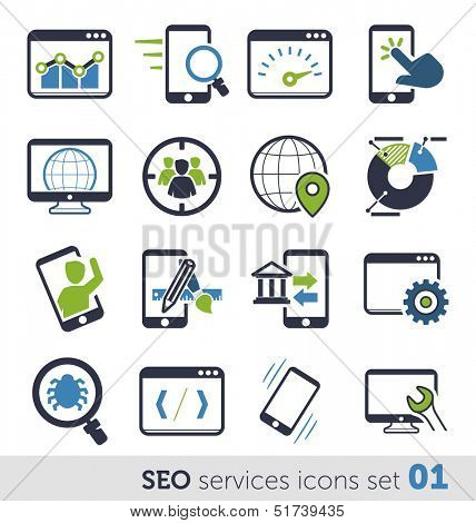 SEO services icons set 01
