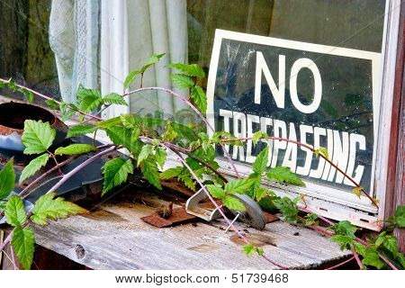 No Trespassing Sign At Window