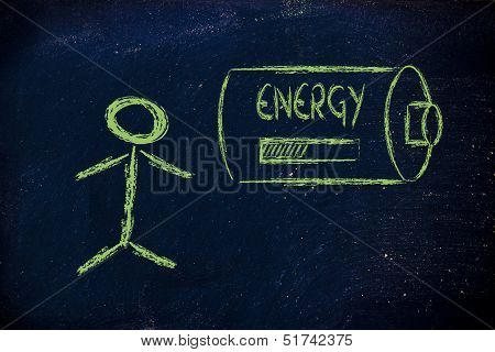 A Person's Energy, With Energy Progress Bar Loading