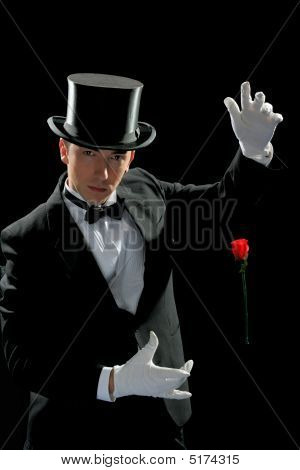 Young Magician With Rose