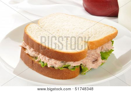 Tuna Sandwich With An Apple And Milk