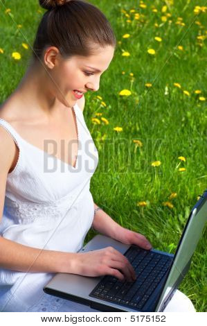 Woman, Laptop