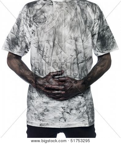 Very dirty man towards white background