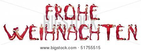 Group of elfs forming the phrase 'FROHE WEINACHTEN' against a white background