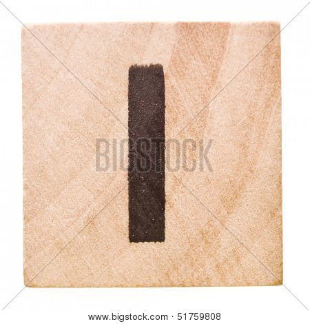Block with Letter I isolated on white background