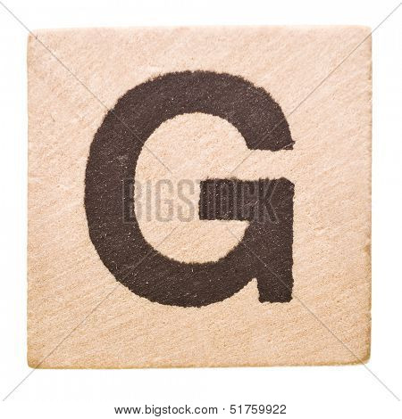 Block with Letter G isolated on white background