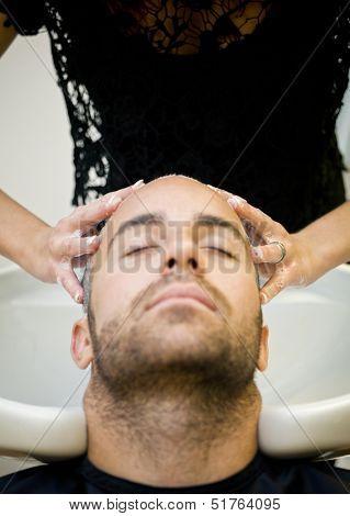Washing hair at the Beauty shop