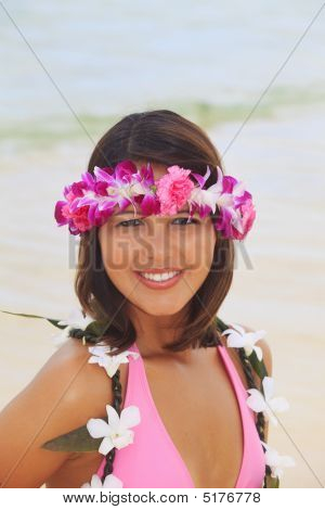 Beautiful Polynesian Girl With Flower Lei