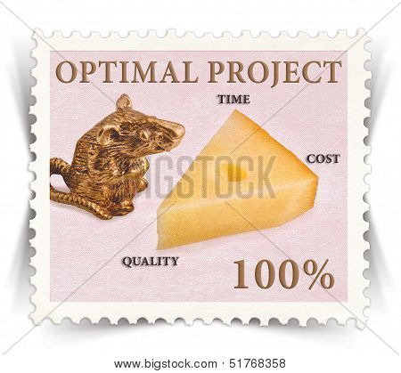 Label For Various Business Projects Stylized As Post Stamp