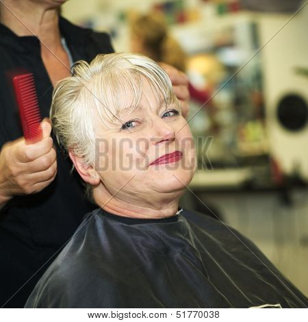 Older woman at the Hairdressers studion