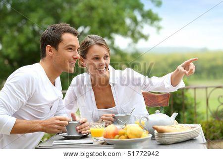 Romantic breakfast in hotel garden