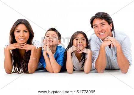 Beautiful happy family smiling - isolated over a white background