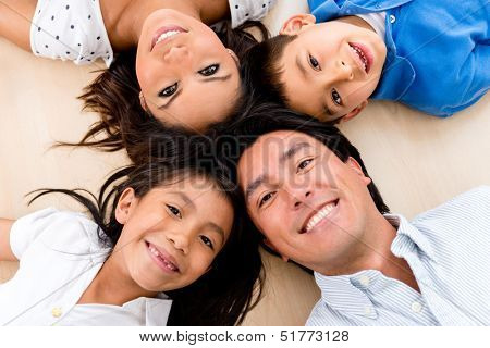 Portrait of a family looking very happy and smiling