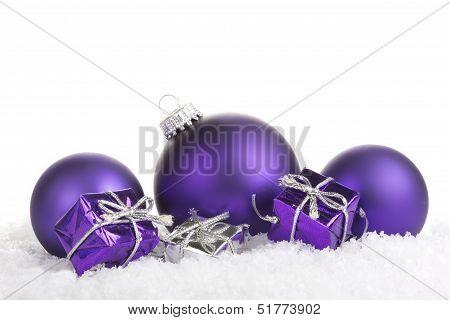 christmas balls purple
