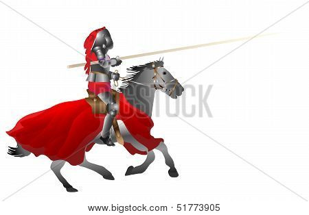 medieval armored knight armed with pike jousting on the horse on the withe background vector illustr