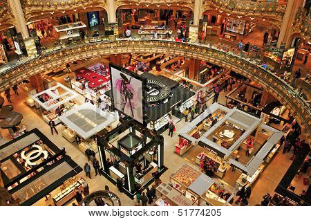 PARIS, FRANCE-MAY 18: Interior of the emblematic building of the Galeries Lafayette on May 18, 2013. In 2012, the dome of Lafayette premises in the Boulevard Haussmann celebrated its 100th anniversary