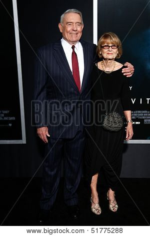 NEW YORK-OCT 1: News anchor Dan Rather (L) and wife Jean Goebel attend the 'Gravity' premiere at AMC Lincoln Square Theater on October 1, 2013 in New York City.