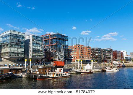 View of the Hafencity in Hamburg