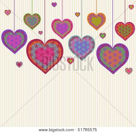 Vector Illustration Of A Heart Background. Valentine's Day Theme