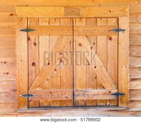 Wooden Window Shutters With Iron Hinges
