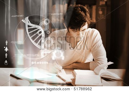 Concentrated college student analyzing dna on digital interface in university library