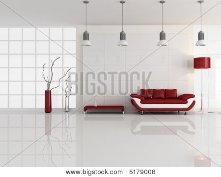 Minimal White And Red Interior