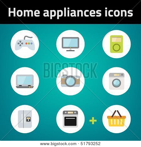 Shopping Home Appliances Flat Icon Set