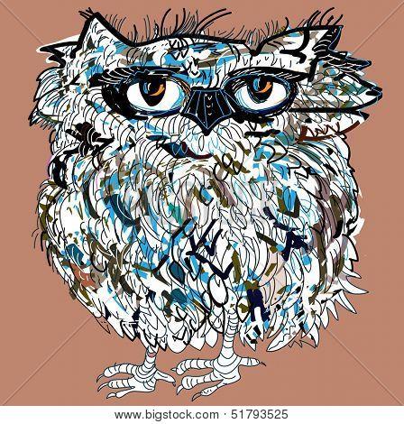 Owl, symbol of Halloween, vector illustration. Illustration for t-shirt.