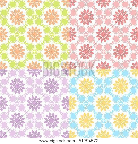 Vector Illustration Of A Set Of Four Seamless Patterns.