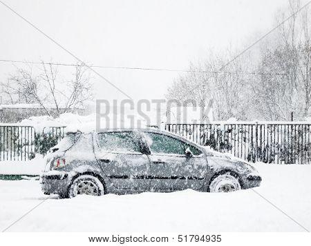 Snowy silver car