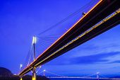 foto of tsing ma bridge  - Suspension bridge in Hong Kong at night - JPG