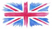 Vector watercolor UK flag, watercolor British flag