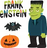 stock photo of frankenstein  - Halloween character Frankenstein with pumpkin and bat - JPG