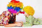 foto of clown face  - big and little funny clowns photo - JPG