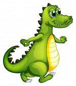 image of dinosaur-eggs  - Illustration of a walking crocodile on a white background - JPG