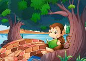 Illustration of a monkey reading a book under the big tree near the bridge