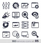 SEO services icons set 05 MONO