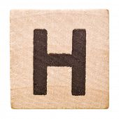 Block with Letter H isolated on white background