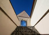picture of stairway to heaven  - Stairway going up to the gate of heaven - JPG