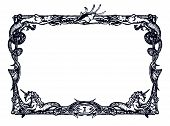 pic of shell-fishes  - Vintage frame with mermaids - JPG